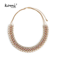 KOMi Luxury Shiny Crystal Chokers Necklaces Women Trendy Statement Collar Pearls Geometric Rhinestone Collier Jewelry MI