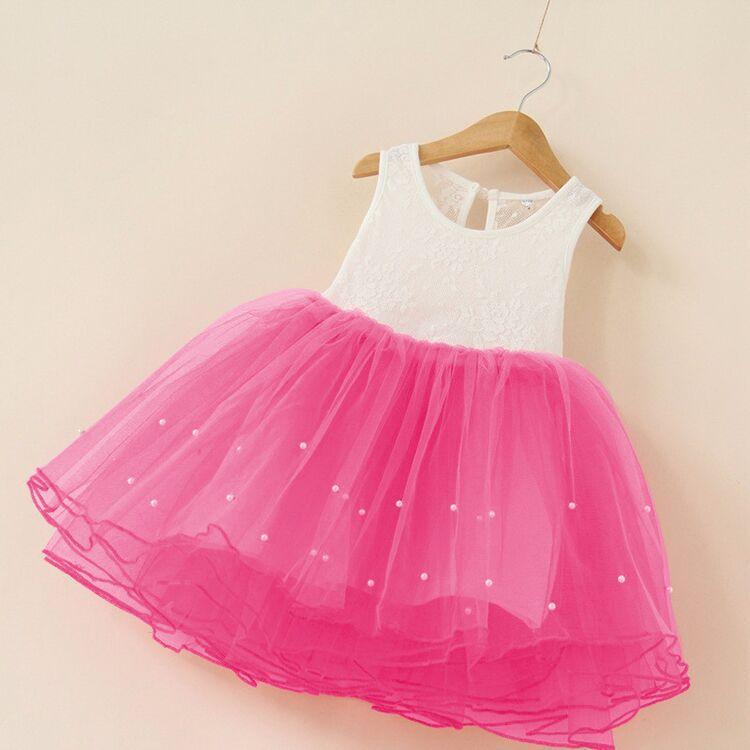 Flower Girl Party Dress Baby Birthday Tutu Dresses For Girls Lace Vest Baptism Pearls Kids Wedding