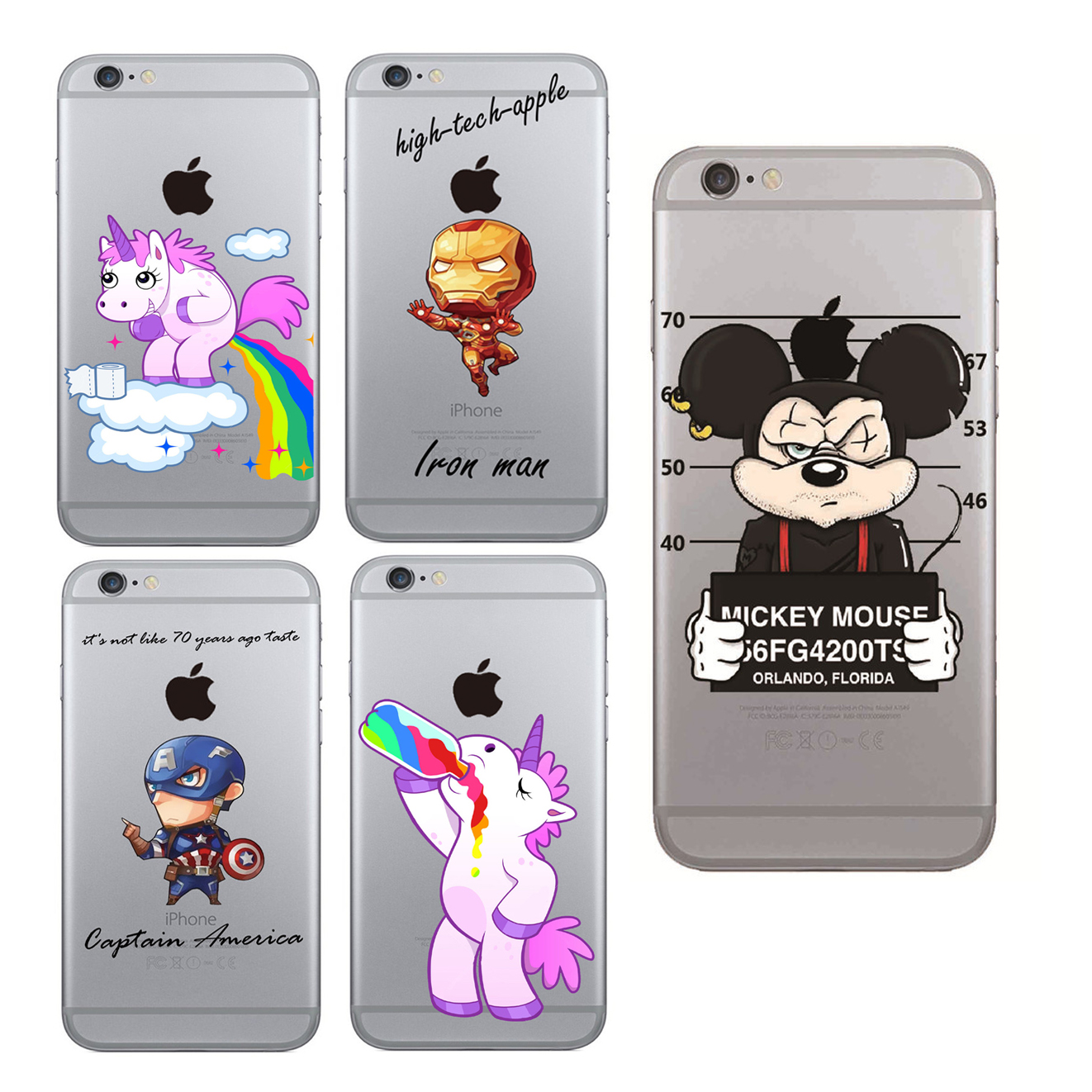 Case For iPhone 5 5s 6 6s Plus Cartoon Criminal Mickey Minnie Daisy Duck Unicorn Cover Soft TPU Phone Cases Coque Capa Fundas