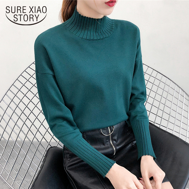 2ca910d9071 2018 Fall Fashion women top half-high collar Korean style long sleeve  Cotton sweater knit sweater women solid color 1264 40