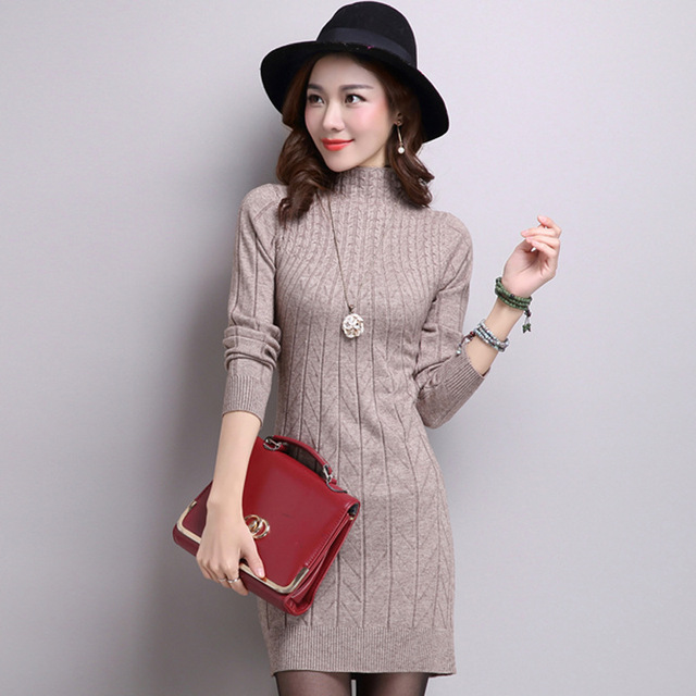 Autumn Winter Thick Sweater Dress Solid Color Half-high Collar Mini Bottoming Sweater Dress Female OL Slim Pencil Knit Dress