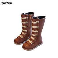 Yorkzaler Autumn Winter Kids High Top Boots 2017 New Fashion Rivet Princess Boots For Girl Brown