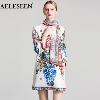AELESEEN Vintage Print Coat 2018 Fall Winter Women Full Sleeve Scarf Flower Vase Beading Print Jacquard Long Designer XXL Coats