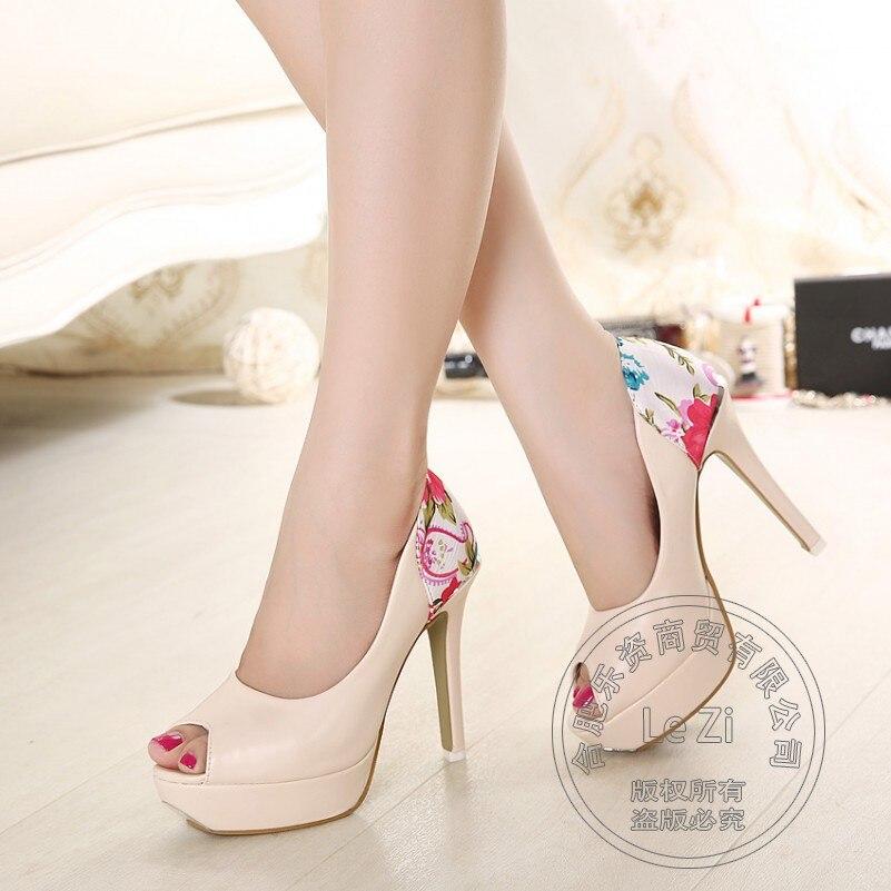 Fashion New Best Seller Print Round font b Women b font Shoes Peep Toe Extreme High