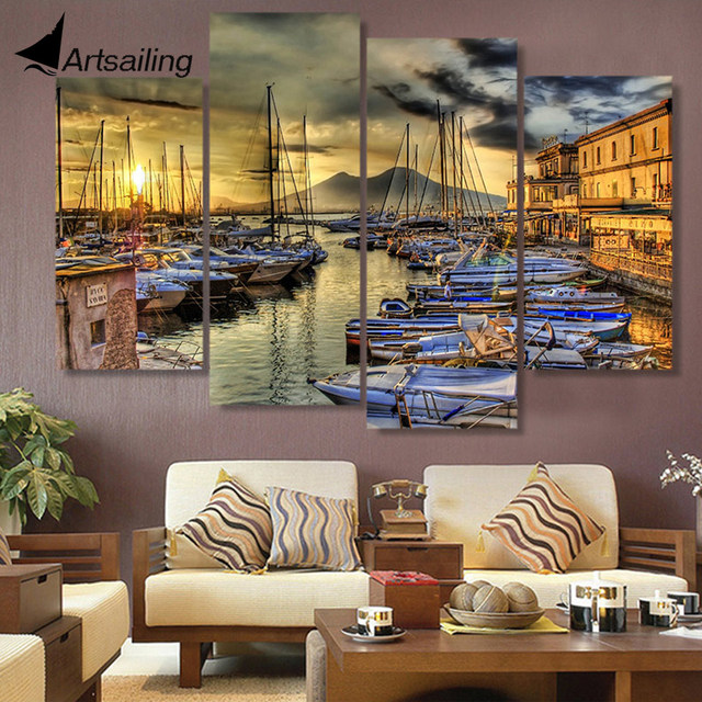 Canvas Painting 4 Piece Canvas Art Naples Italy Wharf Boats HD Printed Home Decor Wall Art & Canvas Painting 4 Piece Canvas Art Naples Italy Wharf Boats HD ...