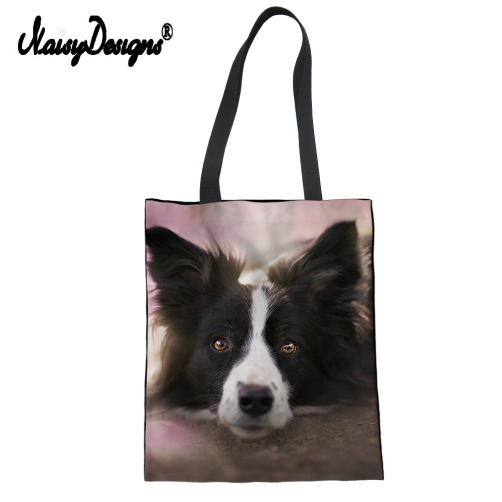 Cute Dog Border Collie Pattern Women Shopping Bags Coloranimal Eco-friendly Casual Canvas Linen Tote Pouch Bags Girl School Bag