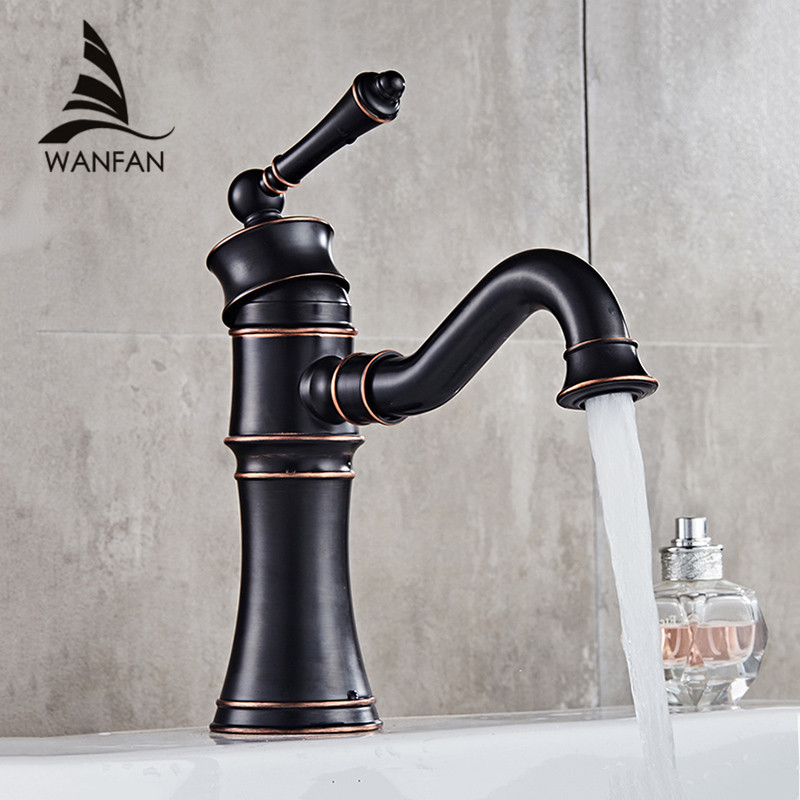 Basin Faucets Black Copper Bathroom Faucet Mixer Vintage Hot And Cold Cock Wash Basin Mixer Tap