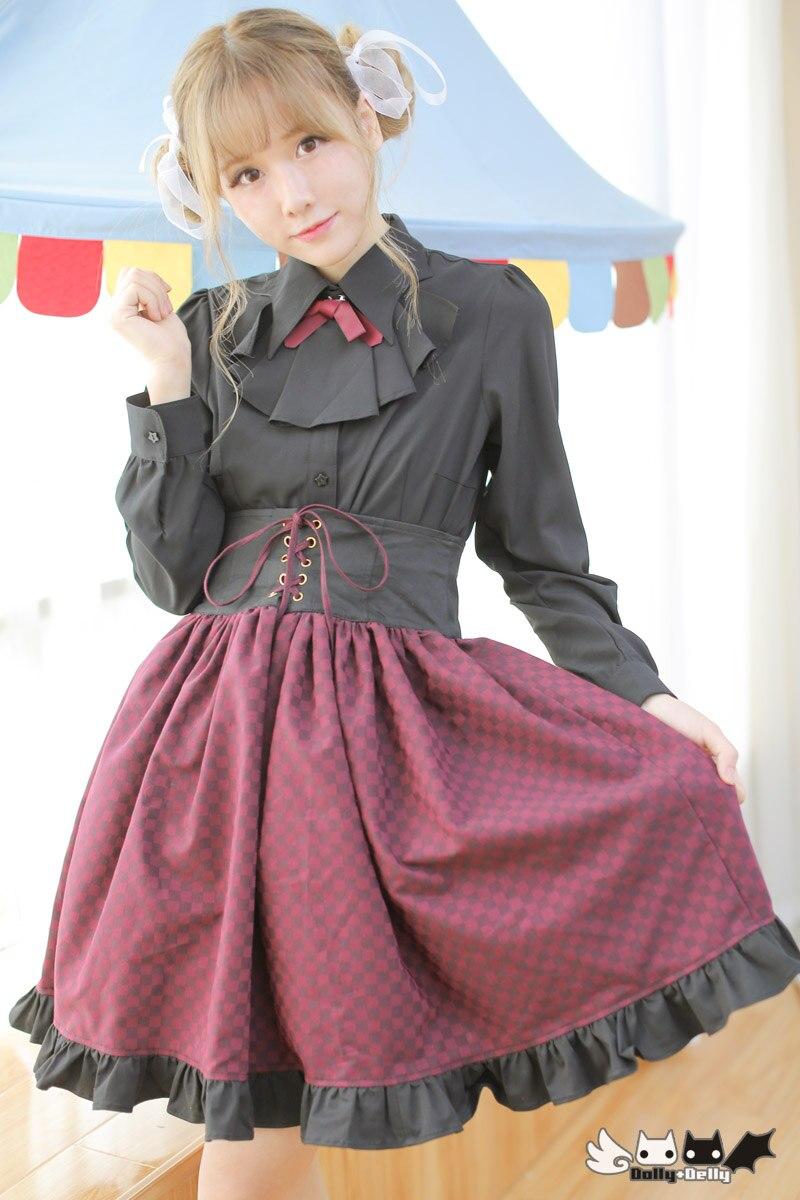 Princesse douce lolita jupe h violet bleu vin anciennes façons taille haute jupe grand tirage string carré ensemble lâche jupe Dolley-0055
