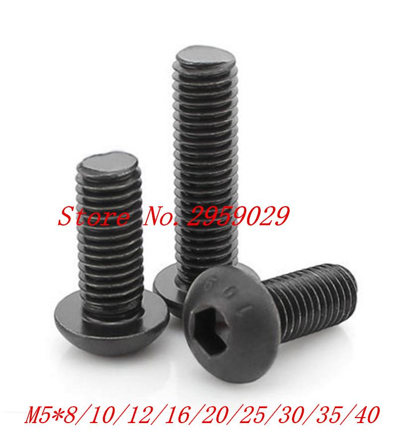 <font><b>100PCS</b></font> ISO7380 M5*8/10/12/16/<font><b>20</b></font>/25/30/35/40/45/50 Steel with black hex hexagon socket button head screw image