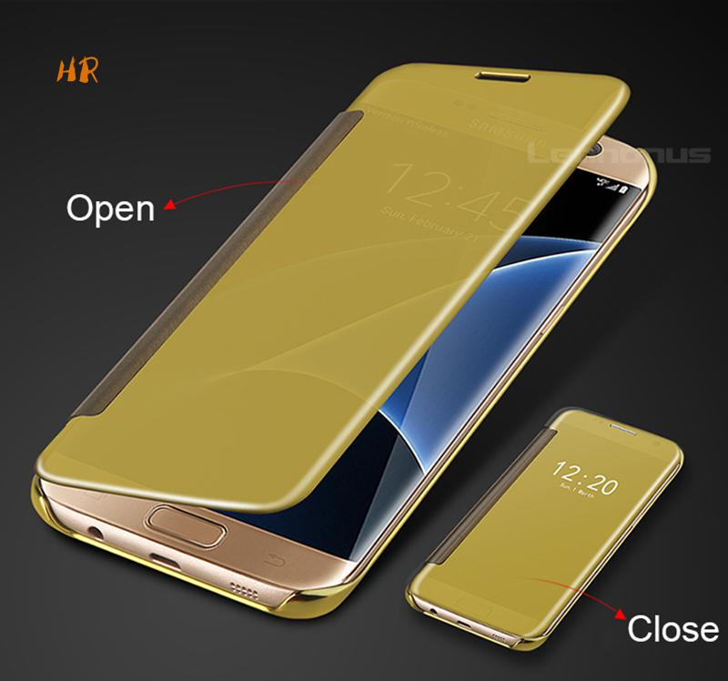 Smart Clear View Mirror Flip Case For Samsung Galaxy S5 S6 S7 Edge Note5 Phone Cover For Samsung A3 A5 A7 2017 2016 A720 Coque