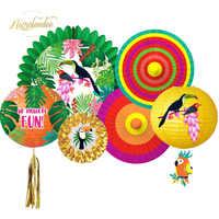 NICROLANDEE 2019 Neue Hawaii Frühling Sommer Papagei Papier Laterne Fans Geburtstag Graduation Party Dekoration DIY Home