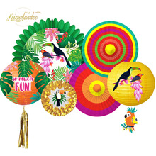 NICROLANDEE 2019 New Hawaii Spring Summer Parrot Paper Lantern Fans Birthday Graduation Party Decoration DIY Home