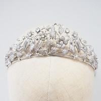 Cúbicos de Zircônia Flor Princesa Pageant Crown Tiara Do Casamento De Cristal Nupcial Jóias Cabelo Joias para o cabelo     -
