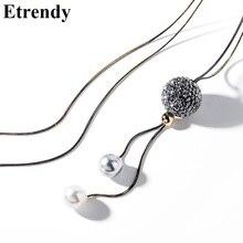 цены на Personality Lucky Ball Tassel Long Necklace Women Korean Fashion Jewelry Sweater Necklaces & Pendants Bijoux Dress Accessories в интернет-магазинах