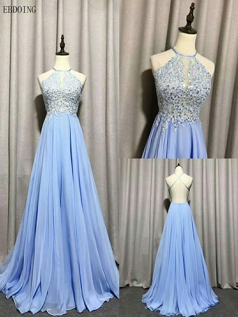 Real Photo A-line   Evening     Dress   Halter Neckline Vestidos de festa Backless Sleeveless Plus Sizes Floor-length With Beaded