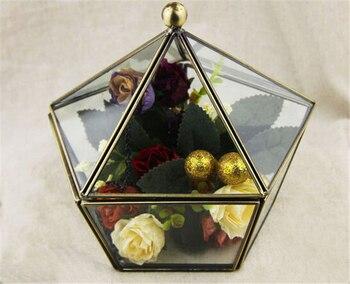Brass and Glass Box, Pentagon Shaped Dome Lid, Vintage Jewelry Case, Miniature Terrarium,Display Trinket Box, Vintage Home Decor