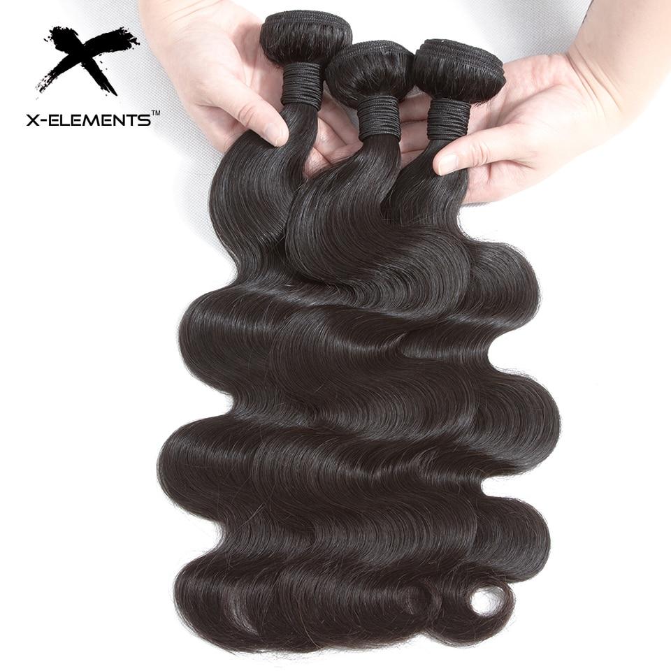 X-Elements Human Hair Body Wave Bundles Non-Remy Malaysian Hair - Mänskligt hår (svart) - Foto 1