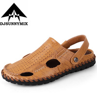 Men Sandals Slippers Genuine Leather Cowhide Male Summer Shoes Outdoor Casual Leather Sandals Sandalias Hombre Free