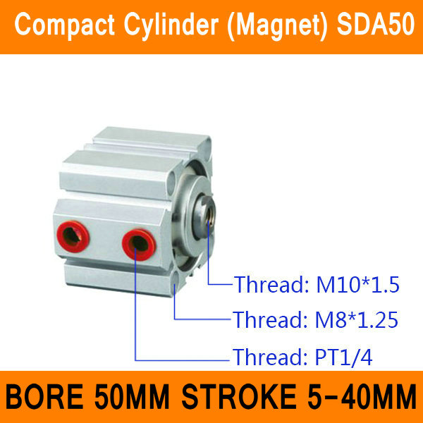 SDA50 Cylinder Magnet SDA Series Bore 50mm Stroke 5-40mm Compact Air Cylinders Dual Action Air Pneumatic Cylinder ISO Certified mal 40mm bore 50mm stroke dual action mini air cylinder