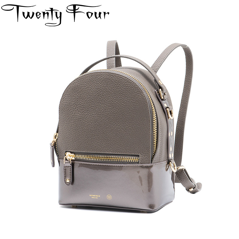 Twenty-four Vintage Retro Lady Genuine Leather Bag Small Women Fashion Mini Backpack Mochila Feminina School Bag Teenagers Bolsa twenty four women backpacks genuine leather ladies travel backpack for teenagers girls bucket bag vintage real leather mochilas