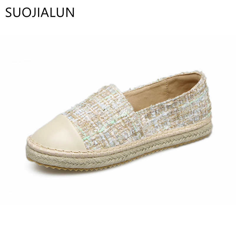 SUOJIALUN 2018 New Spring Women Casual Flat Shoes Round Toe loafers Fisherman Espadrilles Woman Slip On ladies Shoes spring newest flat shoes 2017 pointed toe crystal embellished woman shoes slip on casual shoes gold rhinestones loafers