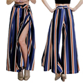 2017 Vintage Women's Sexy Loose Fit Bow Tie Striped Print Dance Wide Leg Pants High Side Slit Drawstring Trousers