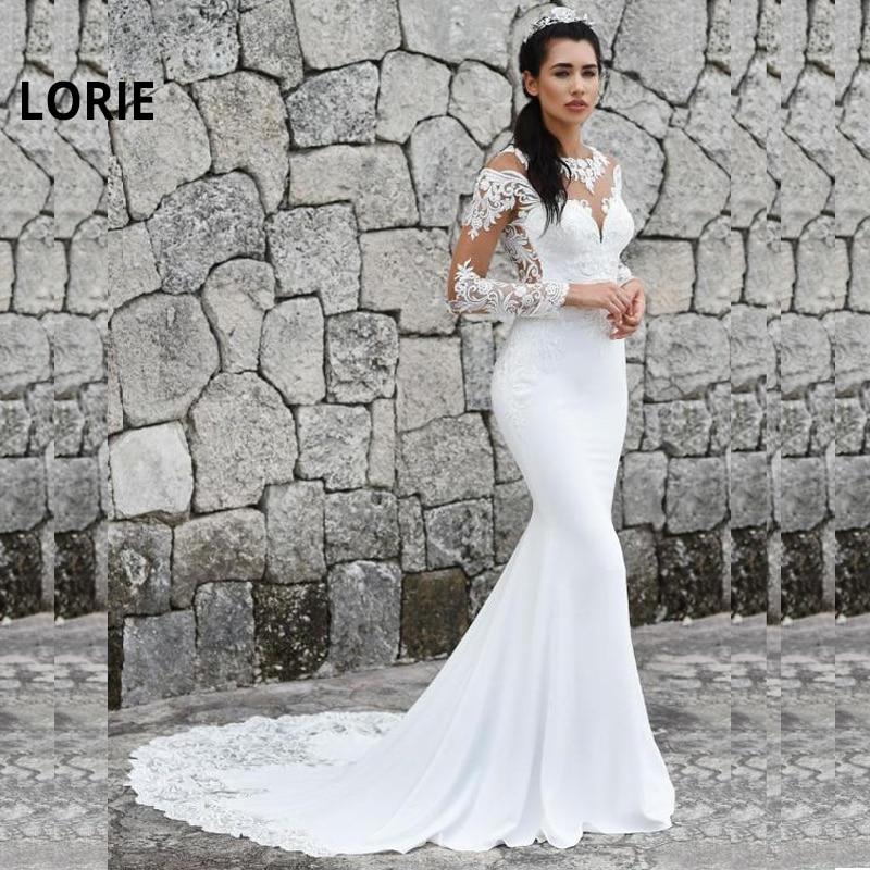 LORIE Mermaid Wedding Dresses 2019 Long Sleeve Bride Dresses Lace Appliques Wedding Gowns O-Neck Turkey Vestidos De Noiva Custom