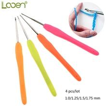 4 Pcs Looen Small Lace Crochet Hooks Set Mix 1.0-1.75mm TPR Soft Rubber Handle Knitting Needles Weave Yarn Sewing Tools