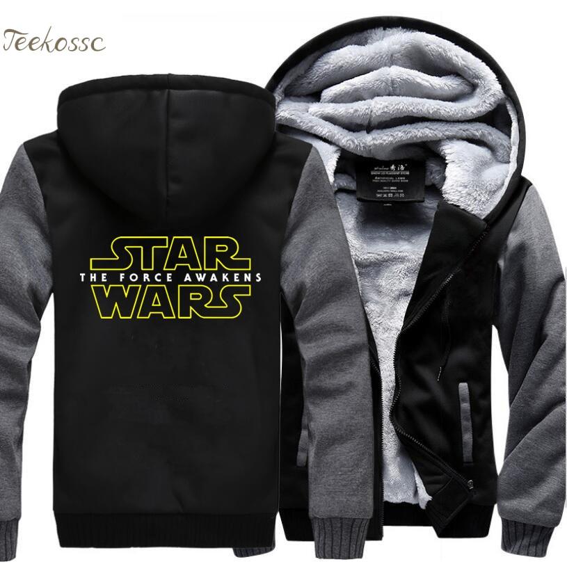 Star Wars Sweatshirts Hoodie Men 2018 Hot Winter Warm Fleece Thick Casual Hoodies Jackets Zipper Hooded Black Sportwear Ches