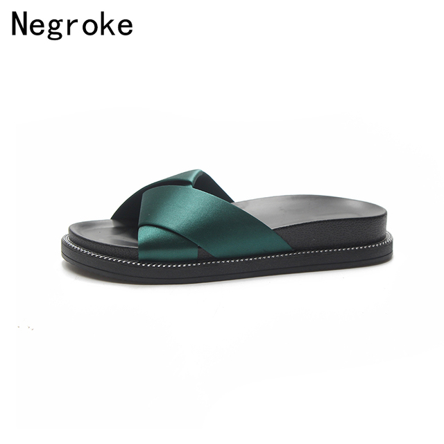 efbe6e331b1c57 2018 New Spring Summer Slippers Women Sandals Peep Toe Silk Strap Flip  Flops Platform Slides Outdoor Beach Shoes Woman Stuffies