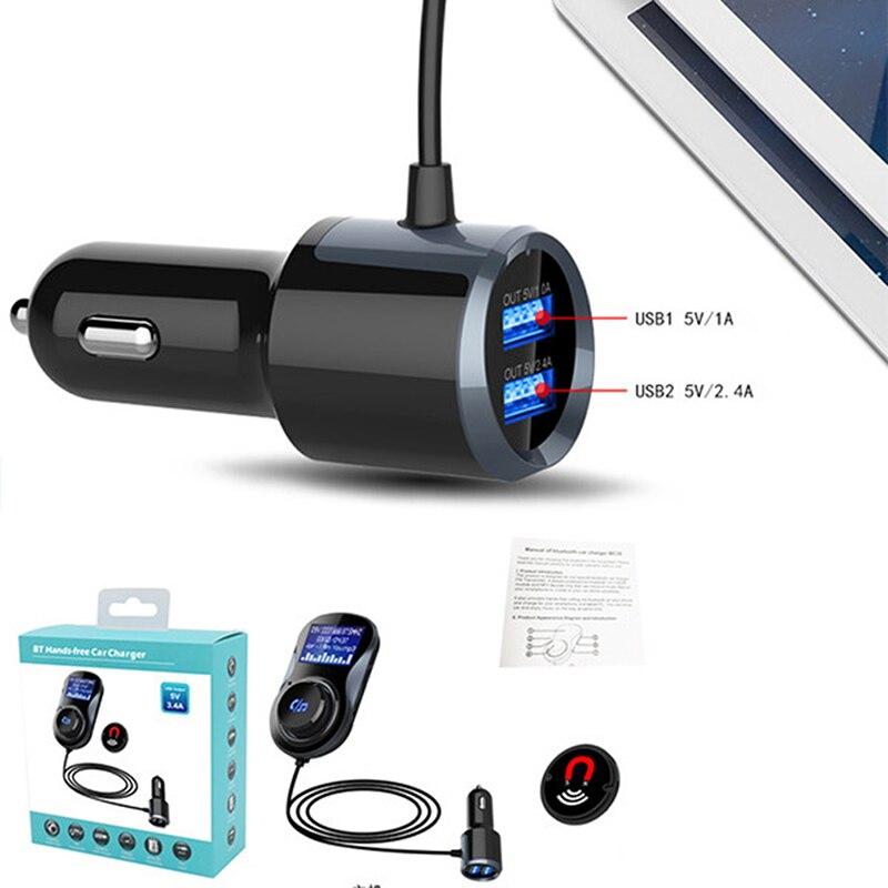 1 шт. Bluetooth FM передатчик аудио автомобильный Mp3 плеер с ЖК-дисплей Дисплей Беспроводной в-Автомобильный fm-модулятор громкой связи Bluetooth автомобильный набор, свободные руки