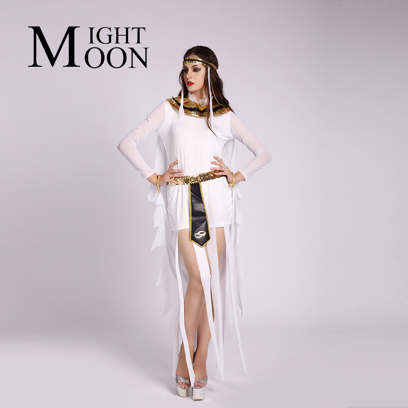 MOONIGHT Halloween Egypt Goddess Cleopatra Costume Queen Cosplay Stage Glod Cape Fancy Dress Adult Women