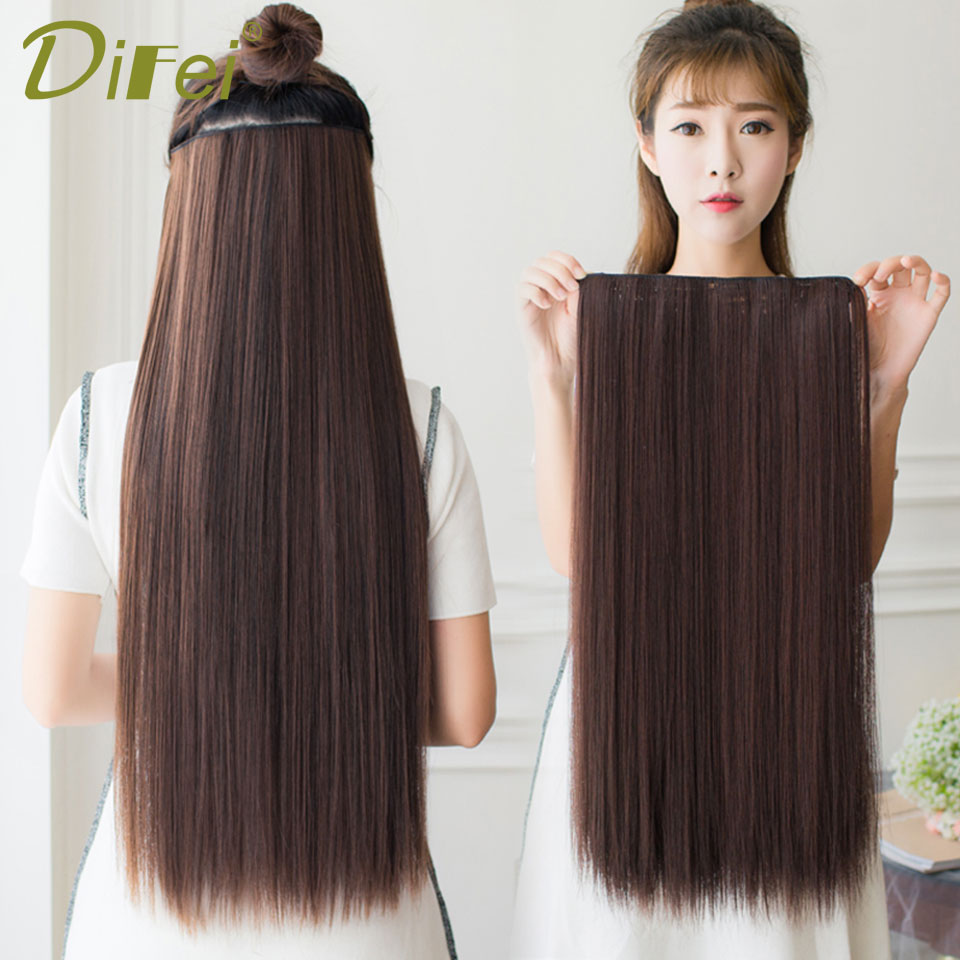 DIFEI 50 60 70 80 96 cm Long Straight Synthetic Hair Extensions 5Clips in High Temperature Fiber Black Brown Hairpiece