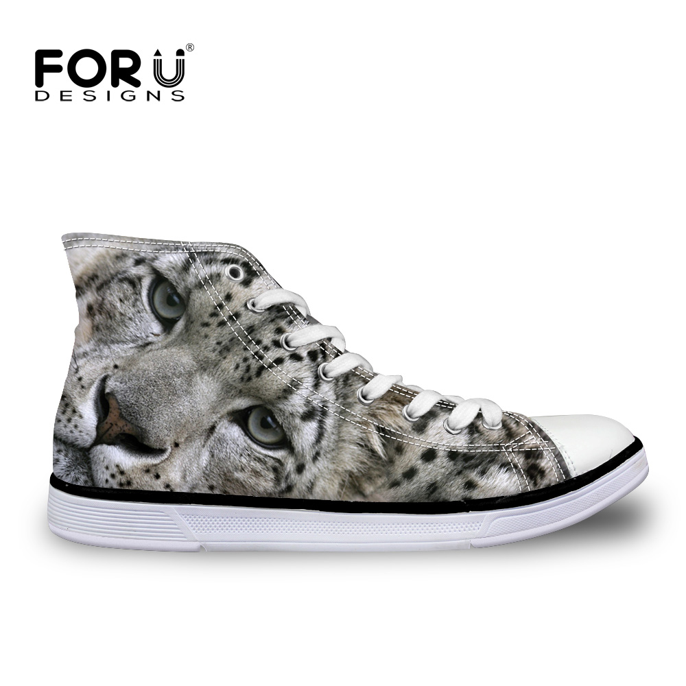 ФОТО FORUDESIGNS Gray Leopard Fashion Canvas Shoes Breathable Men High Top Shoes Lace up Walking Shoes Male Casual 3D Animal Footwear