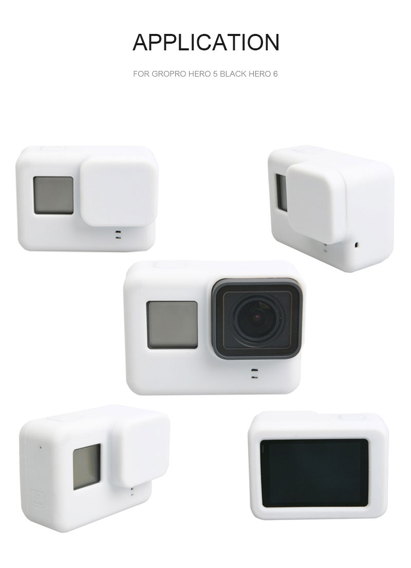 Go Pro Accessories Action Camera Case Protective Silicone Case Skin +Lens Cap Cover for GoPro Hero 5 Black Hero 6 Camera (3)