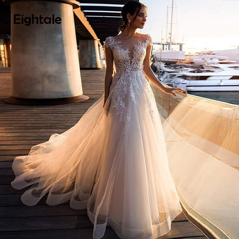Eightale Beach Wedding Dress Illusion Neckline Cap Sleeves A Line Appliques Lace Tulle Light Champgne Wedding