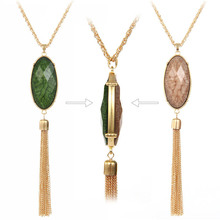 Alloy Tassel Necklace Gold Silver Long Pendant Necklaces for Women 2016 Double Side Oval Stone Resin Statement Necklace Bijoux