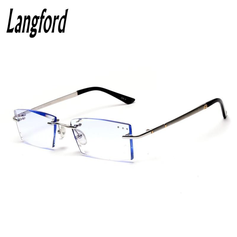Titanium rimless frames High Quality luxury Rhinestone Eyeglasses Prescription Spectacles Optical gold eyeglass frames for men