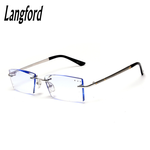 f4ab269b782 Titanium rimless frames High Quality luxury Rhinestone Eyeglasses  Prescription Spectacles Optical gold eyeglass frames for men