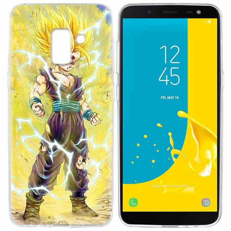 Dragon Ball Z Caso YAETEE Para Samsung Galaxy J4 J6 Plus J3 J5 J7 J8 2018 Capa de Silicone de Volta Para samsung Galaxy J3 J5 2017 UE