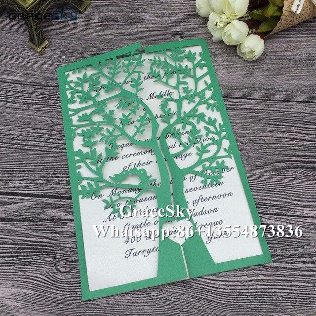 3833 13 De Réduction50 Pcslot Laser Cut Anniversaire De Mariage Invitations Cartes Arbre Conception Avec Texte Personnalisé Or Blanc Rose