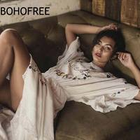 BOHOFREE Gypsy Bride Gown White Cotton Floral Embroidery Long Dress Pluging Neckline Maxi Dress Boho Chic Vestidos Mujer