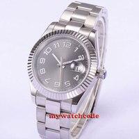 40mm parnis cinza dial safira vidro fivela dobrável automática relógio masculino p541