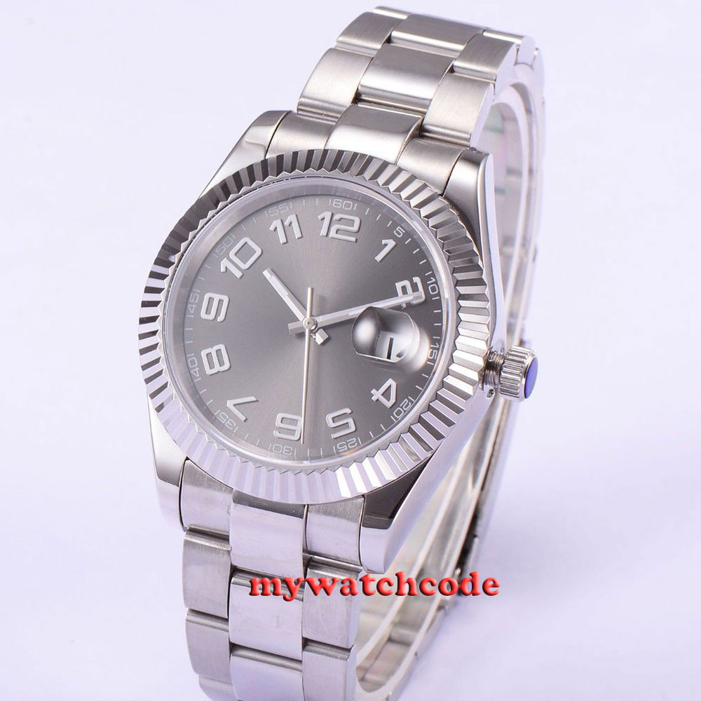 40mm parnis grey dial sapphire glass automatic folding buckle mens watch P541