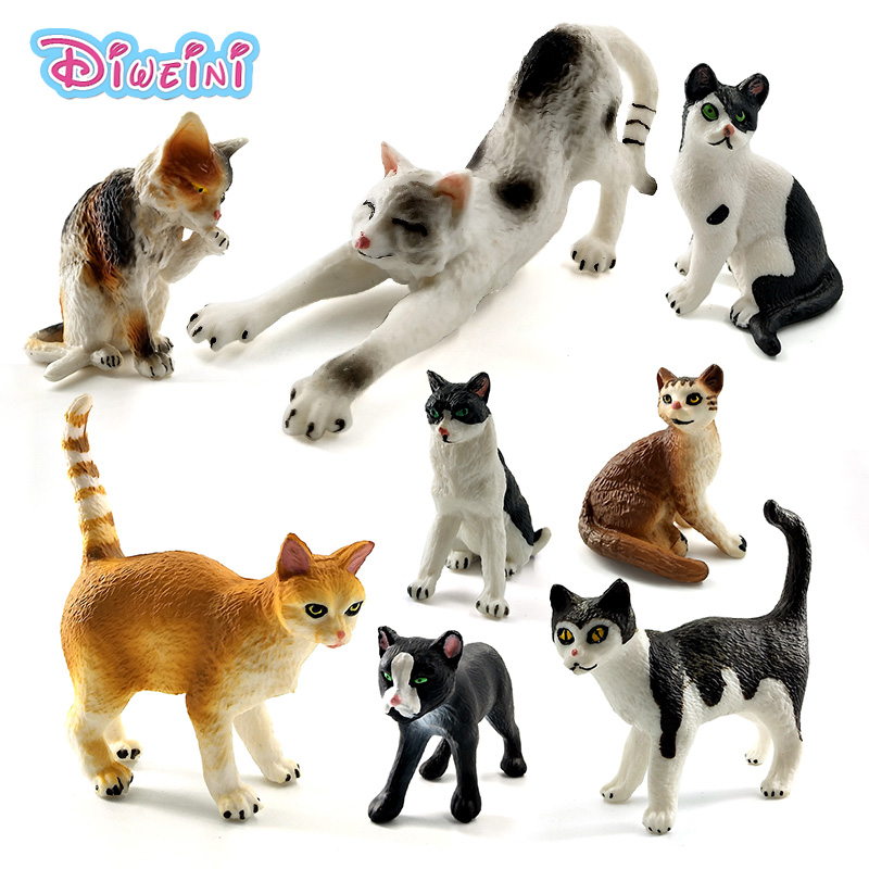 Farm Simulation mini Cat animal model small plastic figures home decor figurine Decoration accessories Gift For Kids toy statue lps pet shop toys rare black little cat blue eyes animal models patrulla canina action figures kids toys gift cat free shipping