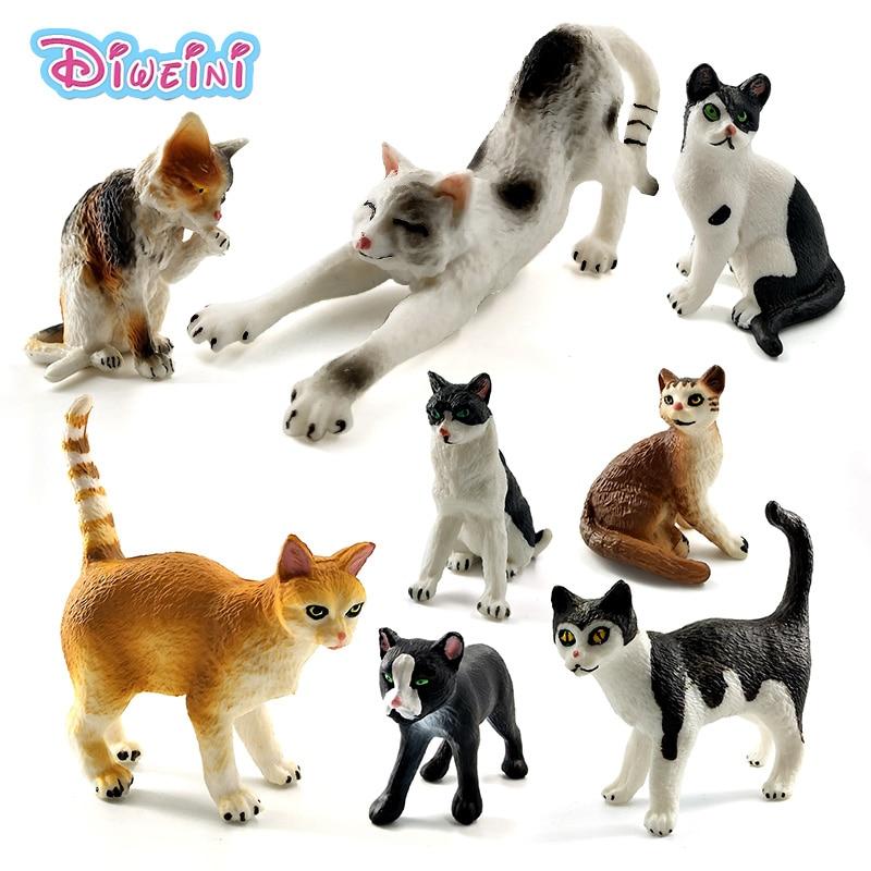 Farm Simulation Mini Cat Animal Model Small Plastic Figures Home Decor Figurine Decoration Accessories Gift For Kids Toy Statue