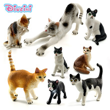 Farm Simulation mini Cat animal model small plastic figures home decor figurine Decoration accessories Gift For Kids toy statue
