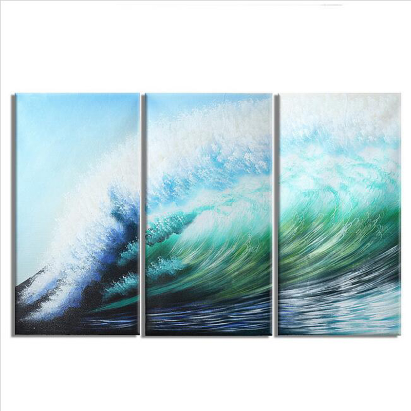 3 pcs pure hand painted oil painting wall decor modern beautiful abstract landscape sea surf. Black Bedroom Furniture Sets. Home Design Ideas