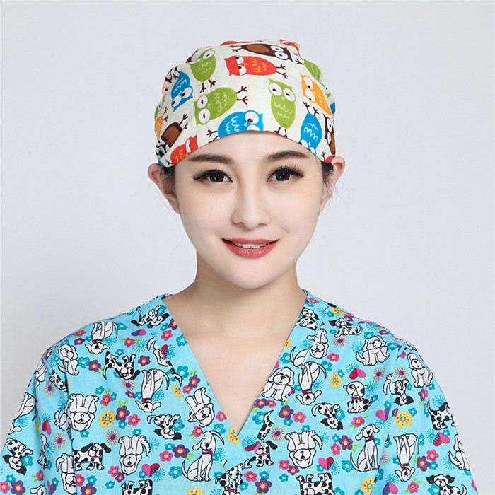 Dropwow Floral Print Doctor Scrub Caps Women s Surgical Hats with ... 6e704b3b1cab