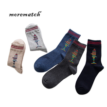 Morematch 1Pair Autumn Winter Men Sock Shark Pattern Cotton Socks Trend  Basketball Skateboard 5 Colors Optional